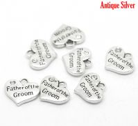 "5 Antique Silver  Heart with Clear Rhinestone ""Father of the Groom"" Charm Pendants 16x14mm"
